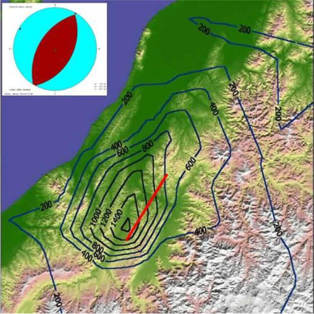 【図-16】2004年中越地震で観察された最大加速度の分布