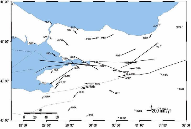 【図-17】1999Kocaeli地震による永久変位(Reilinger et al. 2000)