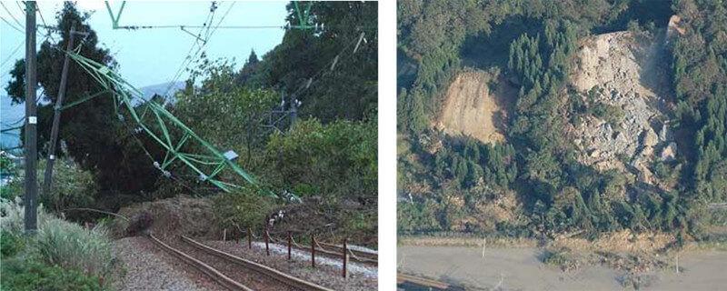【図-26】斜面崩壊による鉄度被害(中越地震,2004)