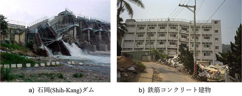 【図-27】逆断層運動による構造物の被害(1999年台湾・集集地震)