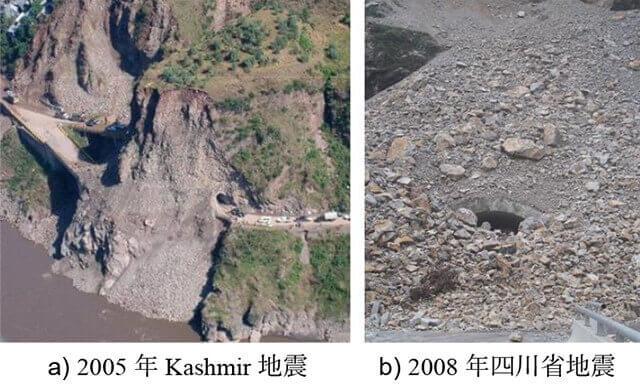 【図-30】2005年Kashmir地震と2008年四川省地震によるトンネル坑口の被害