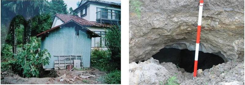 【図-31】2003年宮城北部地震による矢本町亜炭廃坑地域における被害