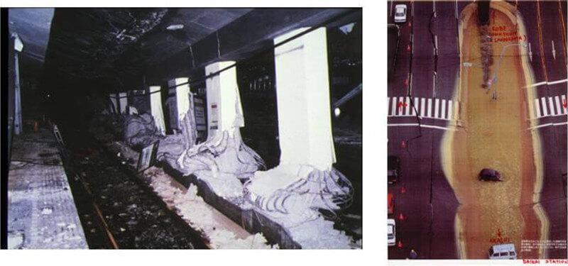 【図-32】兵庫県南部地震における大開駅の被害状況