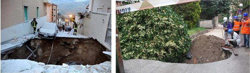 【図-33】2009年イタリアL'Aquila地震によるL'Aquila市内に発生した鍾乳洞の陥没