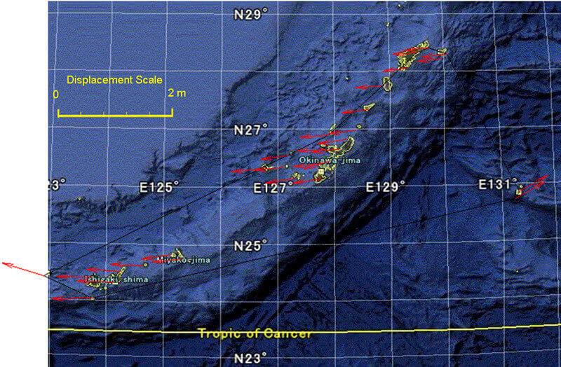 【図-2】琉球諸島周辺におけるGPSによる変位ベクトル