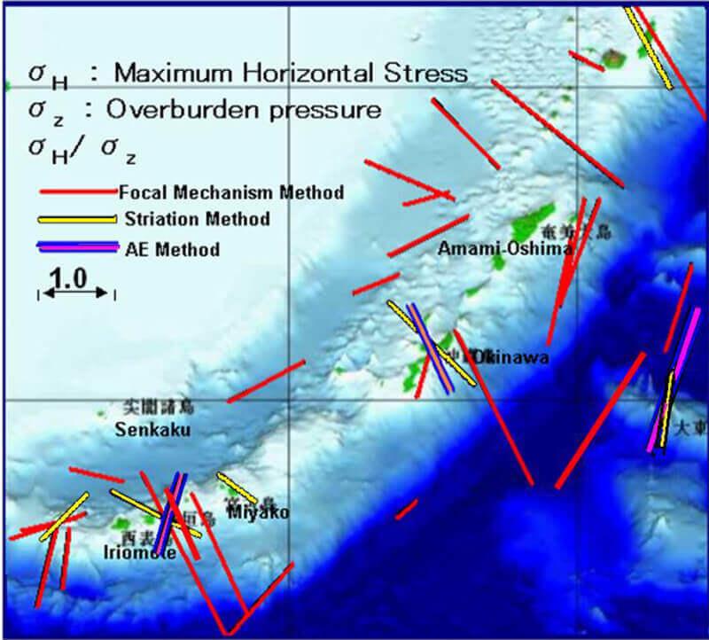 【図-6】琉球諸島の地殻岩盤における最大水平応力の方向と大きさの比較