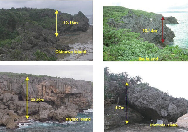 【図-5】琉球諸島の代表的な島に見られる崖の崩壊(Tokashiki and Aydan, 2010bより)