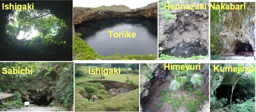 【図-8】琉球諸島の各島におけるシンクホール例