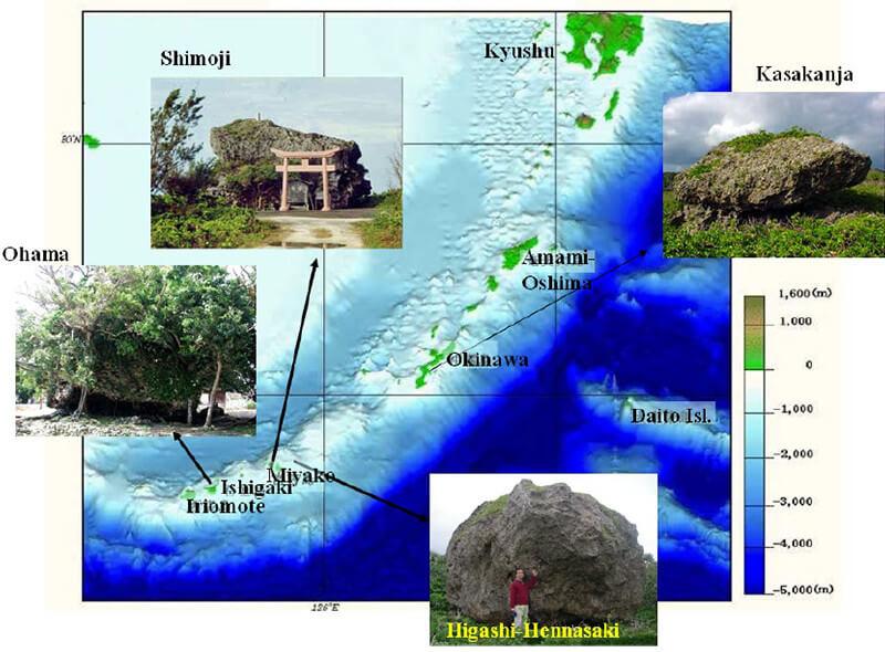 【図-1】琉球諸島の主な島における陸上の津波石