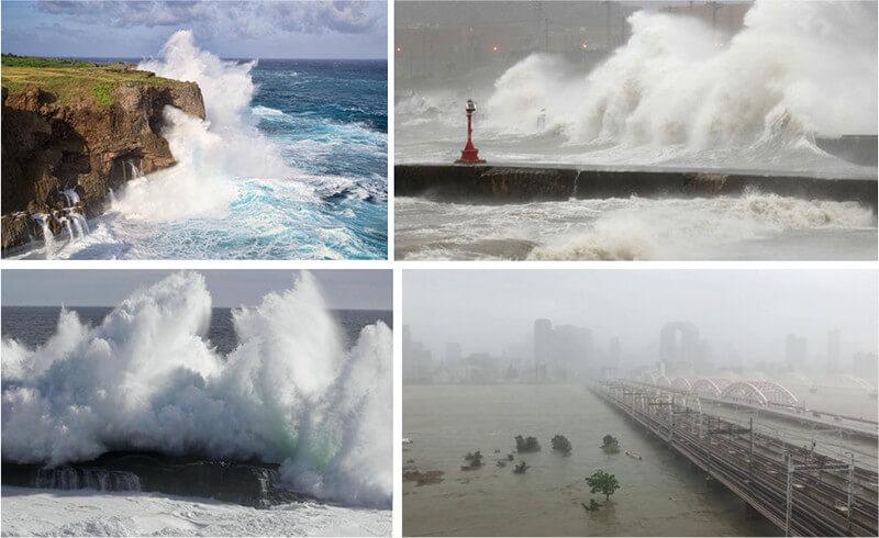【写真-1】台風に海岸線での海水のスプラッシュ、サーフ、高波や雨量による川の水の変動