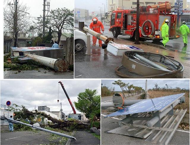 【写真-7】台風によるサインポストや照明柱の被害