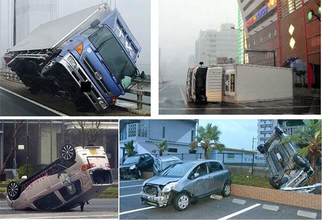 【写真-8】台風による車、トラックなどの横転